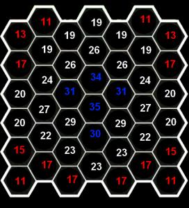 各マスにあるスーバー爆弾を発火させたときに破壊できるブロック数