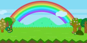 ポコパンのフィールドに虹がかかった様子