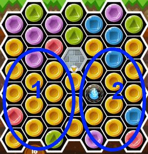 ペンキ使用、2つの領域のブロックを分けて